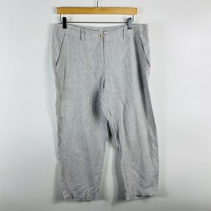 Tommy Bahama Linen Crop Pants Tan White Casual